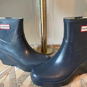 Hunter wedge short rain boots GUC